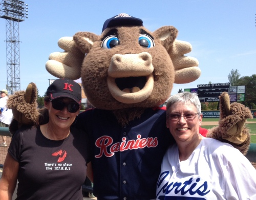 My sister Karen and me with Rhubarb, mascot of Tacoma Rainiers Baseball in Cheney Stadium