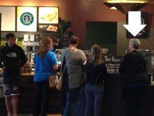 Standing in line at Starbucks