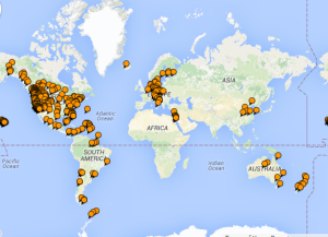 Places I've been (on TripAdvisor map) 2015-12-29