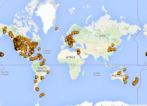 Places I've been (on TripAdvisor map) 2015-12-29